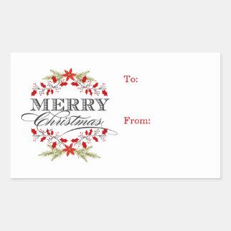Elegant Holly Christmas Typography Gift Tags Rectangular Sticker
