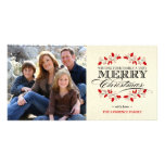 Elegant Holly Merry Christmas Typography Photo Cards