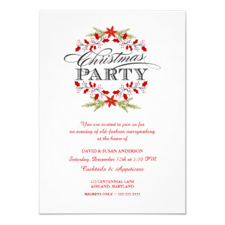 Elegant Holly Wreath Christmas Party Invitations