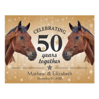 Elegant Horse Custom Gold 50th Wedding Anniversary Postcard