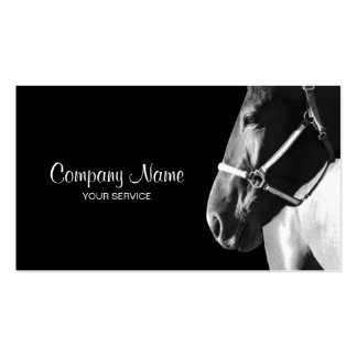 Elegant Horse Side Head Black Business Card