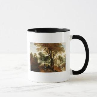 Elegant Horsemen and figures on a path Mug
