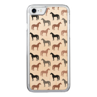 Elegant Horses Brown, Black and Gray Pattern Carved iPhone 7 Case