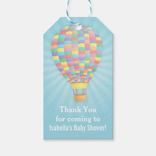 Elegant Hot Air Balloon Baby Shower Gift Tag