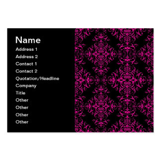 Elegant Hot Pink and Black Victorian Style Damask Business Cards