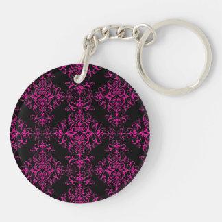 Elegant Hot Pink and Black Victorian Style Damask Double-Sided Round Acrylic Key Ring