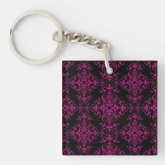 Elegant Hot Pink and Black Victorian Style Damask Double-Sided Square Acrylic Key Ring