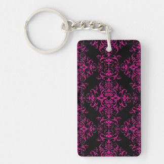 Elegant Hot Pink and Black Victorian Style Damask Rectangle Acrylic Key Chain