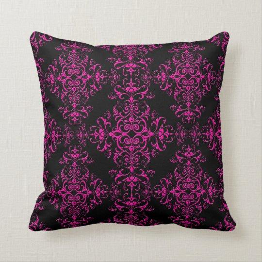 Elegant Hot Pink and Black Victorian Style Damask