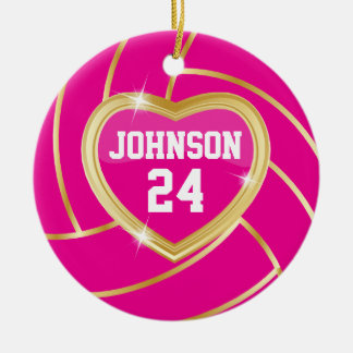 Elegant Hot Pink and Gold Volleyball Christmas Ornament