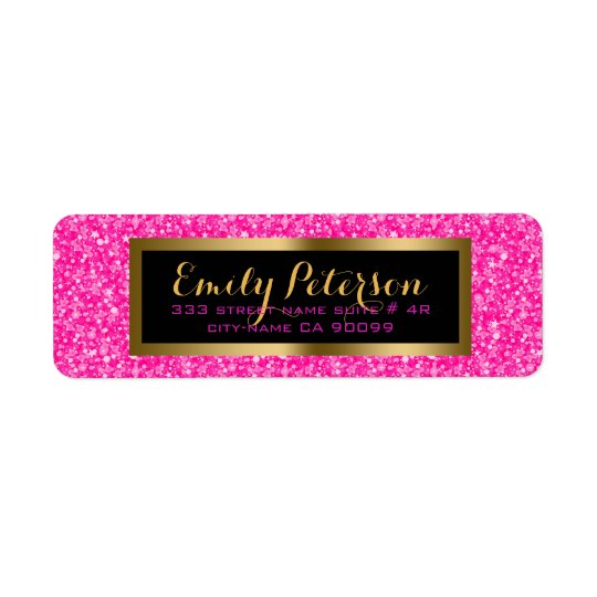 Elegant Hot Pink And White Glitter Return Address