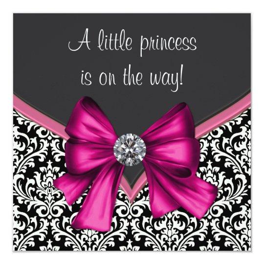 Elegant Hot Pink Black Damask Princess Baby Shower