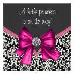 Elegant Hot Pink Black Damask Princess Baby Shower Personalised Announcements