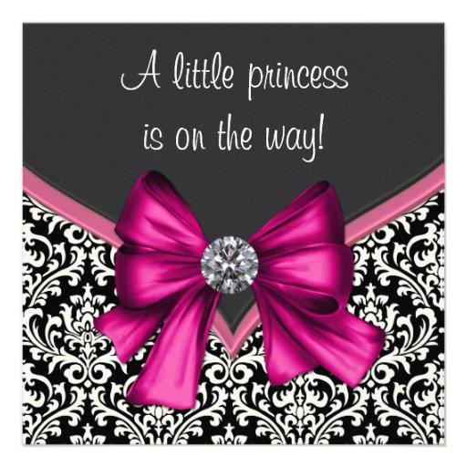 Elegant Hot Pink Black Damask Princess Baby Shower Invite