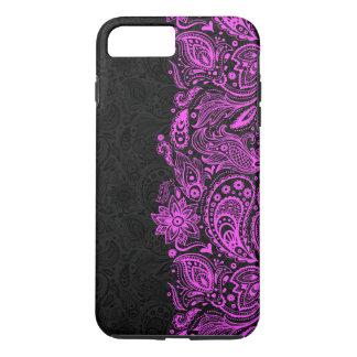 Elegant Hot Pink & Black Floral Paisley Lace iPhone 7 Plus Case