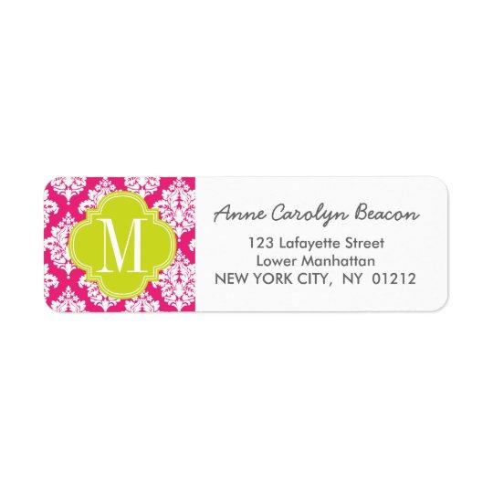 Elegant Hot Pink Damask Personalised Return Address Label