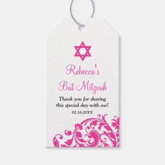 Elegant Hot Pink Flourish Bat Mitzvah Favor Gift Tags
