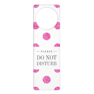 Elegant Hot Pink Glitter Polka Dots Pattern Door Hanger