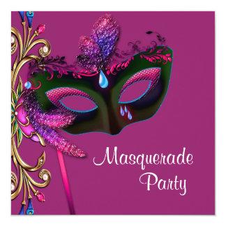 Elegant Hot Pink Masquerade Party 13 Cm X 13 Cm Square Invitation Card