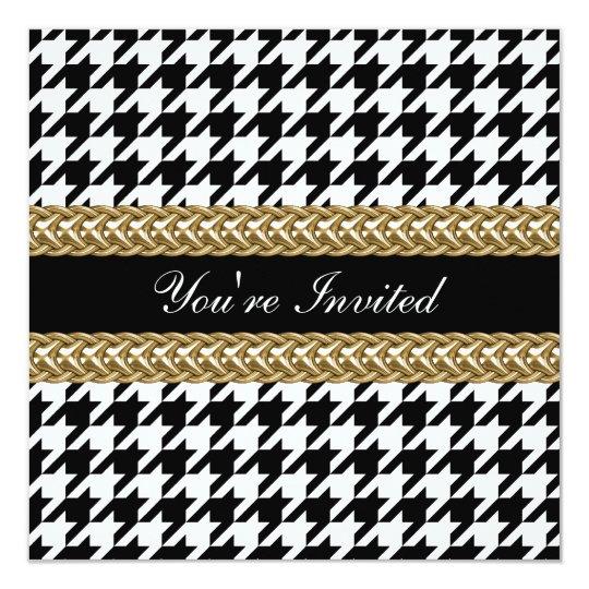 Elegant Houndstooth Black White Gold Party Invite
