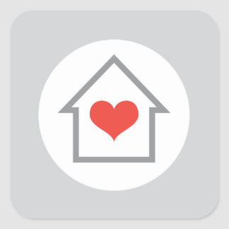 Elegant house heart new address moving square sticker