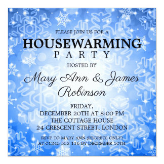 Elegant Housewarming Party Blue Winter Bokeh Card