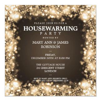 Elegant Housewarming Party Gold Sparkling Lights 13 Cm X 13 Cm Square Invitation Card