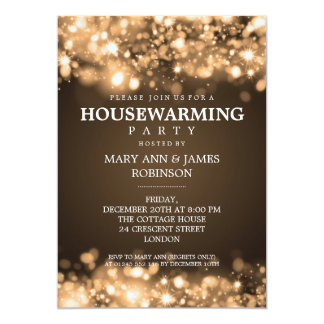 Elegant Housewarming Party Gold Sparkling Lights Card