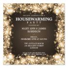 Elegant Housewarming Party Gold Sparkling Lights Card