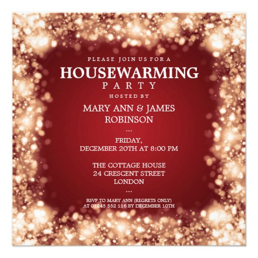 Elegant Housewarming Party Gold Sparkling Lights Personalized Invite