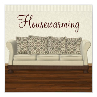 Elegant Housewarming Party Neutral Lounge Card