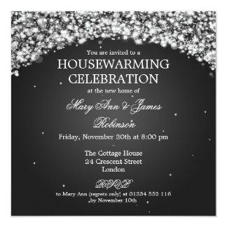 Elegant Housewarming Party Sparkling Arch Black 13 Cm X 13 Cm Square Invitation Card