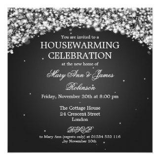 Elegant Housewarming Party Sparkling Arch Black Custom Invitations