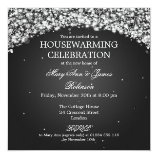 Elegant Housewarming Party Sparkling Arch Black 5.25x5.25 Square Paper Invitation Card
