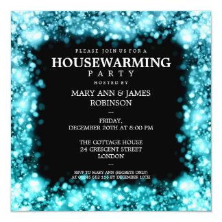 Elegant Housewarming Party Sparkling Lights Turquo 13 Cm X 13 Cm Square Invitation Card