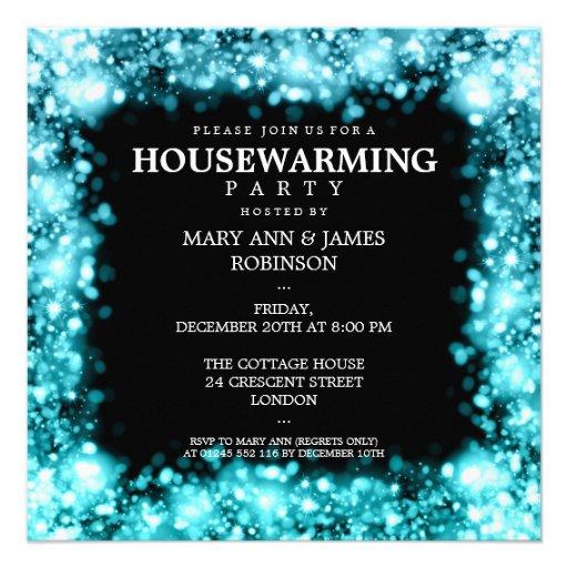 Elegant Housewarming Party Sparkling Lights Turquo Custom Announcements