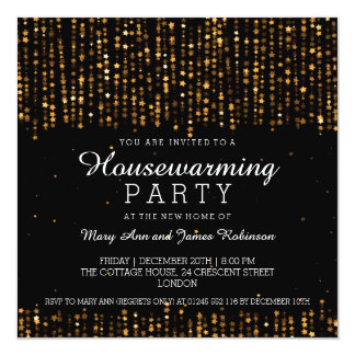 Elegant Housewarming Party Star Confetti Gold 5.25x5.25 Square Paper Invitation Card