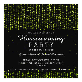 Elegant Housewarming Party Star Confetti Green 5.25x5.25 Square Paper Invitation Card