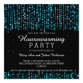 Elegant Housewarming Party Star Confetti Turquoise 5.25x5.25 Square Paper Invitation Card