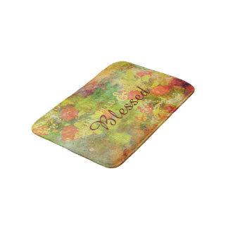 Elegant Humbled & Blessed Floral Watercolor Bath Mats