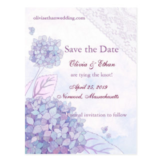 Elegant Hydrangea Wedding Save the Date Postcards