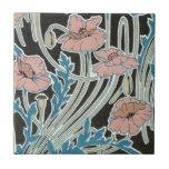 elegant icelandic poppies art nouveau design small square tile