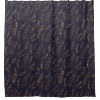 Elegant Indigo and Gold Feather Shower Curtain