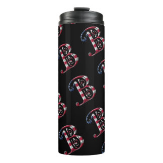 Elegant Initial B American Flag Colors Monogram Thermal Tumbler