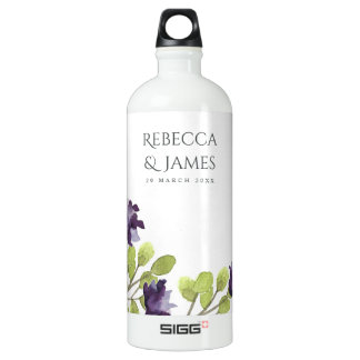 ELEGANT INK BLUE WATERCOLOUR FLORAL Personalised SIGG Traveller 1.0L Water Bottle