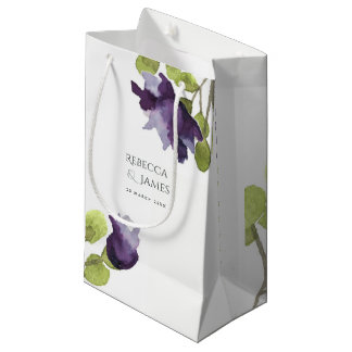 ELEGANT INK BLUE WATERCOLOUR FLORAL Personalised Small Gift Bag