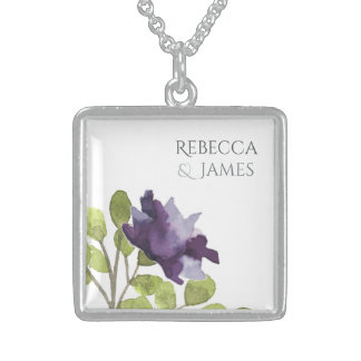ELEGANT INK BLUE WATERCOLOUR FLORAL Personalised Sterling Silver Necklace