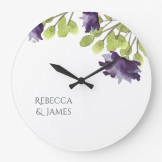 ELEGANT INK BLUE WATERCOLOUR FLORAL Personalised Wallclock