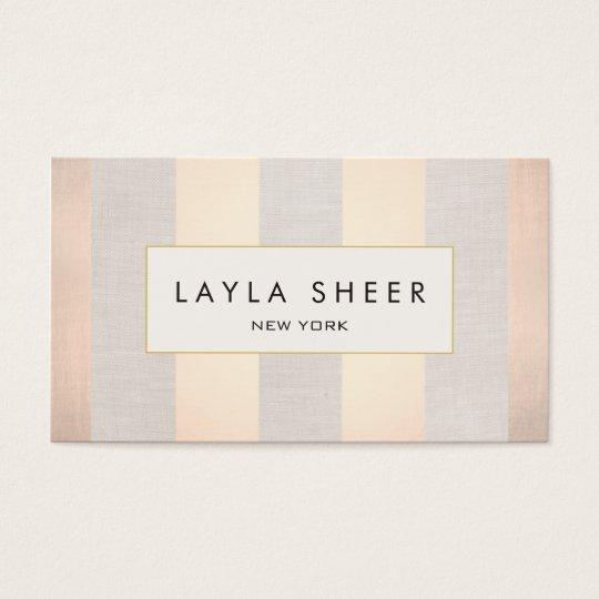Elegant Interior Design Rose Gold Stripes Business Card