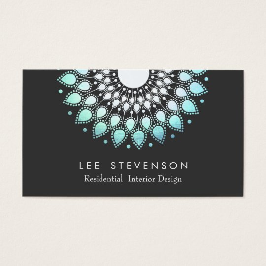 Elegant Interior Designer Ornate Foil Look Motif Business Card